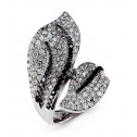 18k White Gold Black 3.03 Ct Round Diamond Bypass Ring