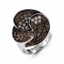 18k White Gold Brown 2.80 Ct Round Diamond Flower Ring