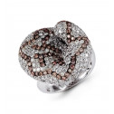 18k White Gold Brown 3.65 Ct Round Diamond Fashion Ring