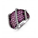 18k White Gold Pink 3.41 Ct Sapphire Round Diamond Ring