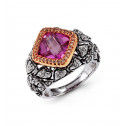 18k White Gold 0.37 Ct Pink Topaz Round Diamond Ring