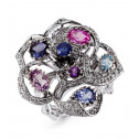 18k White Gold Blue Purple Gemstone Round Diamond Ring