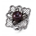 18k White Gold 10.5mm Black Pearl Round Diamond Ring
