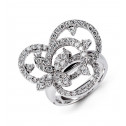 Solid 18k White Gold 1.77 Ct Round Diamond Flower Ring