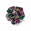 18k White Gold Color Gemstone Round Diamond Floral Ring