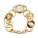Gold Tone Women's Open Links White Dial Bracelet Watch
