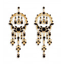 Marquise Round Black Crystal Gold Tone Dangle Earrings
