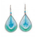 Blue Green White Silver Tone Teardrop Dangle Earrings