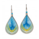 Silver Tone  Blue Yellow White Teardrop Dangle Earring