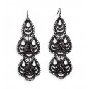 Black Silver Tone Open Link Teardrop Dangle Earrings