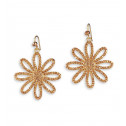 French Wire Big Smoky Topaz CZ Flower Dangle Earrings