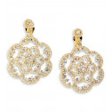 Gold Tone White Blue CZ Stud Dangle Chandelier Earrings