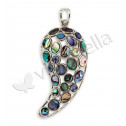 925 Silver Abalone Round Oval Good Luck Pendant Charm