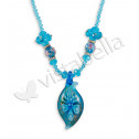 Light Blue Crystal White CZ Glass Beads Floral Necklace