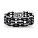 Mens Stainless Steel Double Roller Chain Link Bracelet