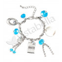 Silver Tone CZ Mother of Pearl Fashion Charm Bracelet