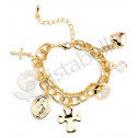 Gold Tone Religious Cross Heart CZ Beads Charm Bracelet
