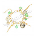 New Gold Tone Light Green Crystals Coins Charm Bracelet