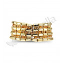 Womens Gold Tone Beads Metal Bangle Stretch Bracelet