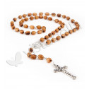 Crucifix Cross Brown Olive Wood Rosary Beads Necklace