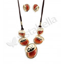 Women's Tigers Eye Stones Necklace Clip On Earrings Set