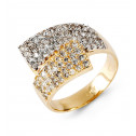 14k Two Tone Gold Round Cut CZ Double Cluster Band Ring