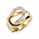 Solid 14k Yellow White Gold Double Loop Women's CZ Ring