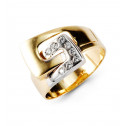 New 14k Solid Yellow White Gold Buckle CZ Fashion Ring