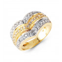 New 14k Solid White Yellow Gold Triple Row Band CZ Ring