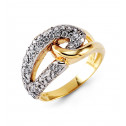 New 14k Solid Yellow White Gold Round Cut CZ Knot Ring