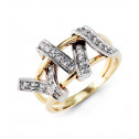 White Yellow 14k Solid Gold CZ Knot Twist Fashion Ring