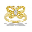 10k White Yellow Gold Diamond Sapphire Butterfly Ring
