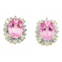 10k White Gold 3.50 Ct Pink Topaz Diamond Stud Earrings