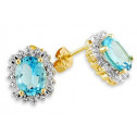 10k Yellow Gold 4.0 Ct Diamond Blue Topaz Stud Earrings