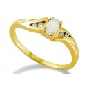 Women's 10k Yellow Gold .20ct Diamond Oval Opal Ring