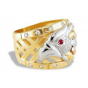 New Mens 14k Yellow White Rose Gold CZ Eagle Band Ring