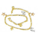 14k Yellow White Rose Gold Dolphin Heart Star Anklet