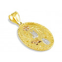 14k White Yellow Rose Gold Lucky Charms Oval Pendant
