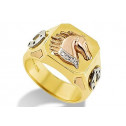 14k Tri Color Gold Mustang Horse Horseshoe Square Ring