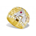 Men's 14k Solid Tri-Color Gold Horse Heat CZ Band Ring