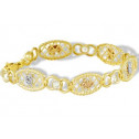 14k White Yellow Rose Gold CZ Lucky Oval Links Bracelet