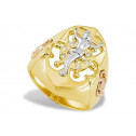 Solid 14k Tri Color Gold Jesus Mary Anchor CZ Mens Ring