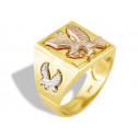 Men's 14k White Rose Yellow Gold Eagle CZ Square Ring