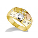 14k Yellow White Rose Gold Triple Hearts CZ Band Ring