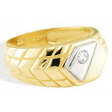 New 14k Yellow White Gold Men's CZ Designer Band Ring