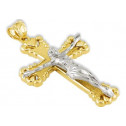 14k Yellow White Gold Heart Crucifix Cross Pendant