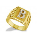 New 14k Two Tone Gold Diamond Cut Letter B Initial Ring