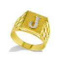 New 14k Two Tone Gold Diamond Cut Letter J Initial Ring