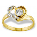 14k Two Tone Gold Heart Round CZ Solitaire Kids Ring