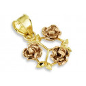 14k Yellow Rose Gold Flower Leaves Floral Charm Pendant